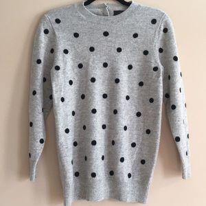 J Crew Italian Cashmere Sweater Polka Dot Top M